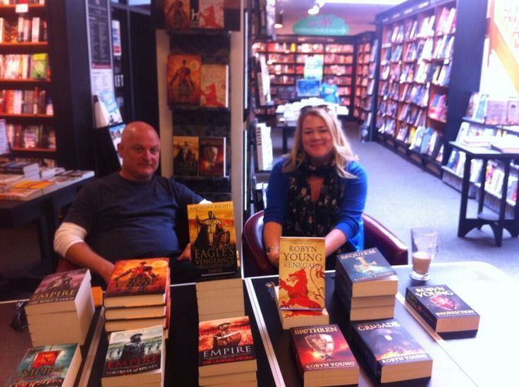 Robyn Young (r.) signing books in Waterstones along with Anthony Riches
