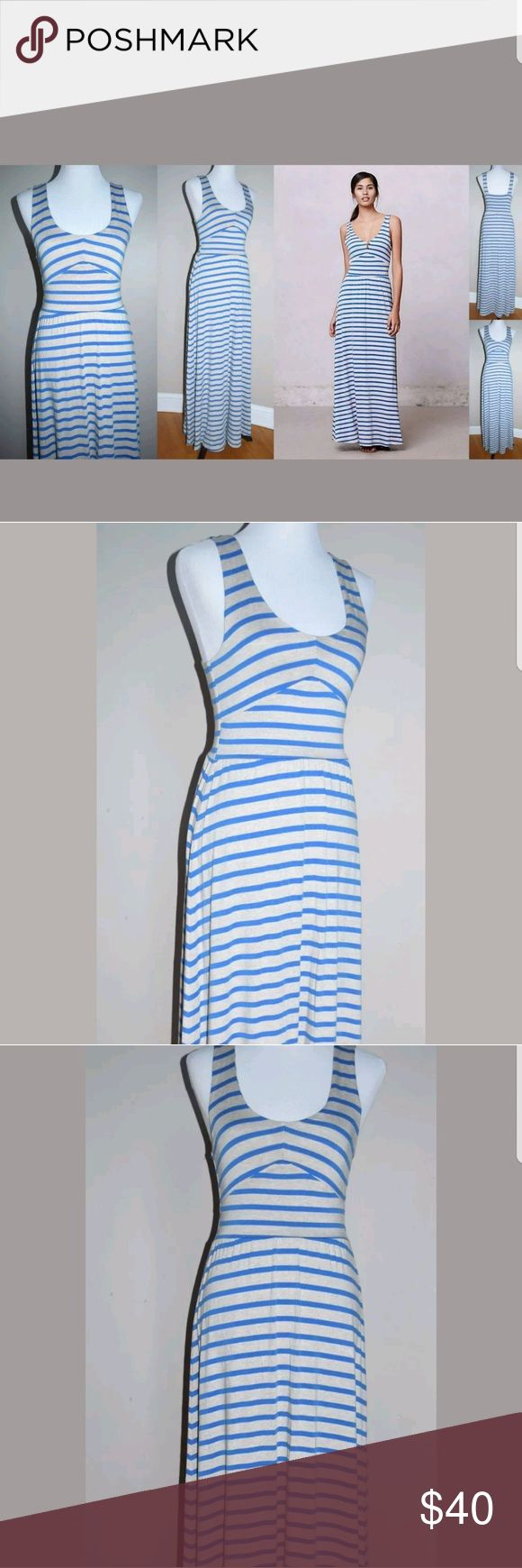 "Puella Anthropologie Blue Striped Maxi Dress Puella Anthropologie Blue/Oatmeal Striped Empire Day Dress Maxi Sundress (please check length measurement, dress is quite long)  Size XS   Length: 54""   Chest: 14.25""    Waist: 12""   Condition:  EUC   My items come from a smoke-free household, we do have a kitty, so an occasional hair may occur!  Washed in Cold and Hung Dry  Anthropologie Dresses Maxi"