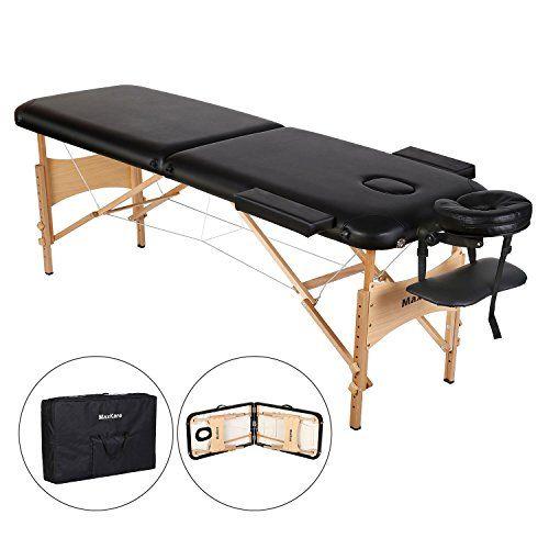 Maxkare Table De Massage Pliante En Bois 2 Zones Pliables Et Hauteur Reglable Lit Professionnel D Esthetique Pour Les Salons Bien Etre A Domicile Sac De Tra Table De Massage Tables De Massage