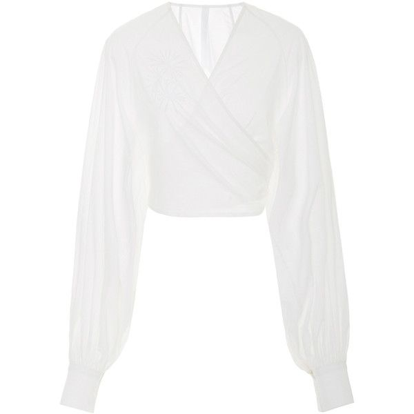 Merlette Spritz Cropped Wrap Blouse (1,895 CNY) ❤ liked on Polyvore featuring tops, blouses, white, cropped tops, wrap tops, white wrap top, embroidered top and embroidered blouse