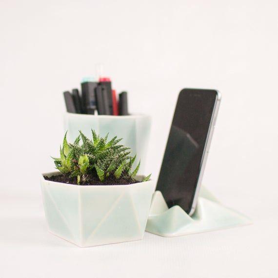 Modern Desk Accessories Set Ceramic Desk Organizer Minimal