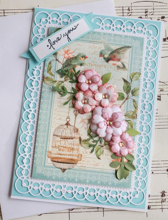 Love You Handmade Vintage Inspired LOVE Card, Paper Flowers, Birdcage, Vintage Inspired, Love