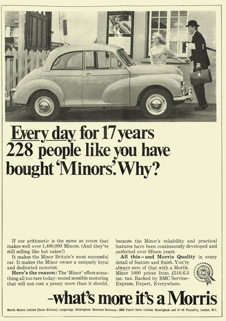 Ads for British Cars 1960s. The Morris Minor.