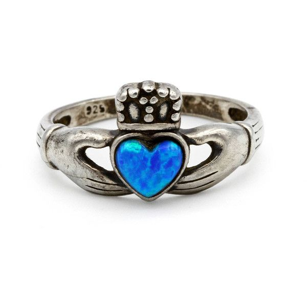 Sterling Claddagh Ring, Celtic Irish Ring, Blue Lab Opal Ring, Opal... ($40) ❤ liked on Polyvore featuring jewelry, rings, vintage wedding rings, blue engagement rings, celtic engagement rings, crown ring and engraved wedding rings