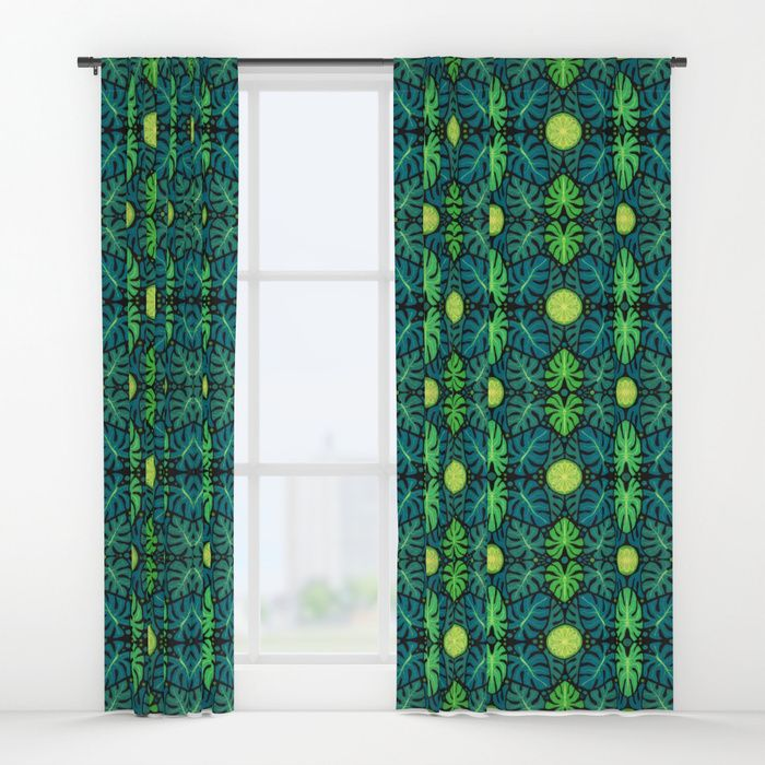 Buy Monstera leaves, floral pattern, black, green & turquoise Window Curtains by clipsocallipso. Worldwide shipping available at Society6.com. Just one of millions of high quality products available.