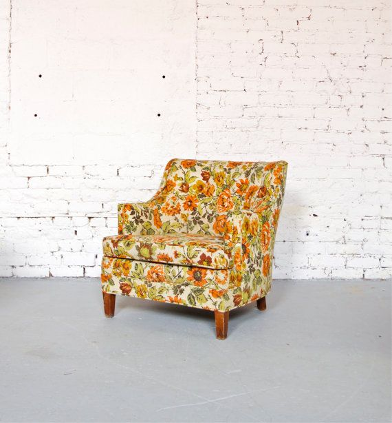 Mid Century Retro Orange Floral Petite Club Chair   Made In Detroit