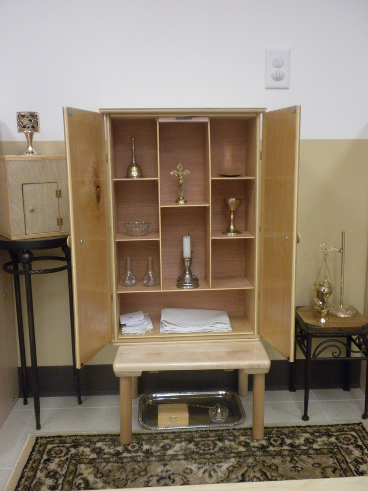 Altar and cabinet containing altar articles | Catechesis ...