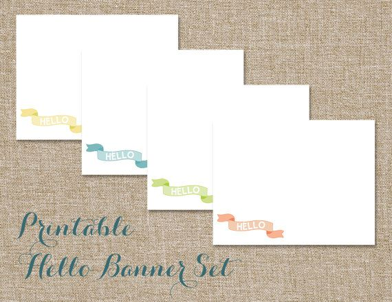Printable Hello Banner Stationery Set | DIY - Print at by pmpaper, $5.00