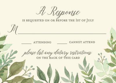 Watercolor Garden Wedding Response Card
