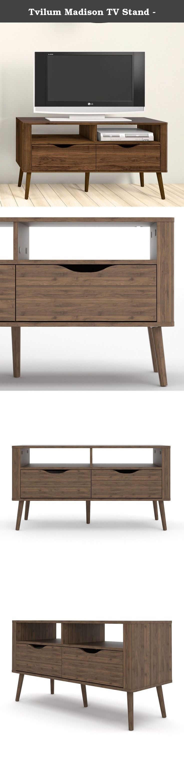Tvilum Madison TV Stand -. Scandinavian style is lauded for its combination of clean-lined style and functional design, and the Tvilum Madison TV Stand - Oak is no exception. Two drawers with cut-out, handle-free drawers combine with two fixed, open shelves to provide smart storage for consoles, remotes, media, and more. The TV stand is crafted of environmentally friendly engineered wood in a rich walnut finish. Fine craftsmanship abounds, too, from the soft-close drawers to their metal...