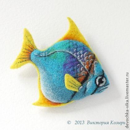 """Брошь """"Монодактилус"""" - рыба,рыбка,рыбки,рыбы,море,войлок,украшения ручной работы"""