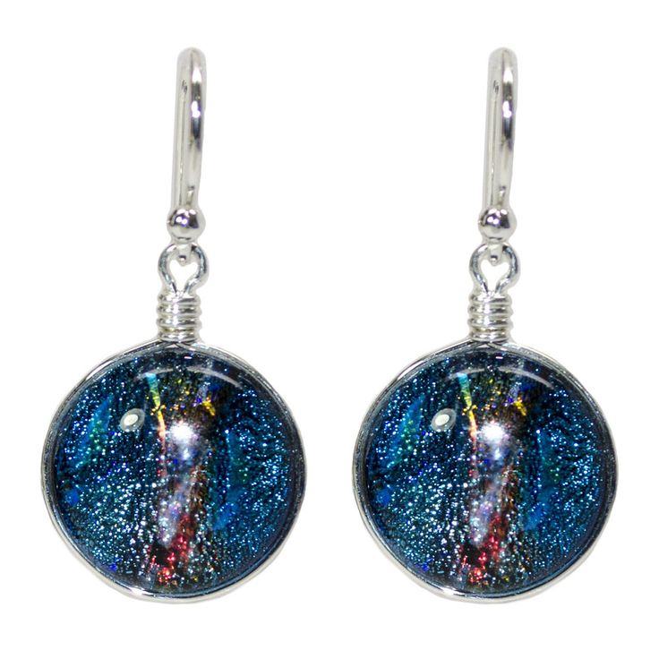 Neptune Nickel Free Earrings - dichroic glass, handcrafted in the USA! – Athena Allergy, Inc. Launch into a new world of soothing, cooling relief with truly amazing earrings that seemingly add color and reflections depending upon the surroundings. Try it and you'll see exactly what we mean! #nonickel #nickelfreejewelry #athenaallergy