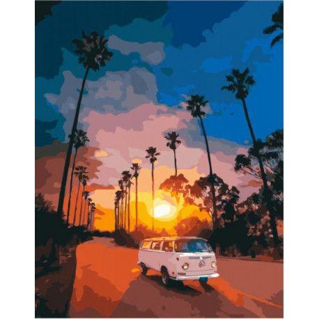 Автобус на закате Раскраска картина по номерам на холсте ...