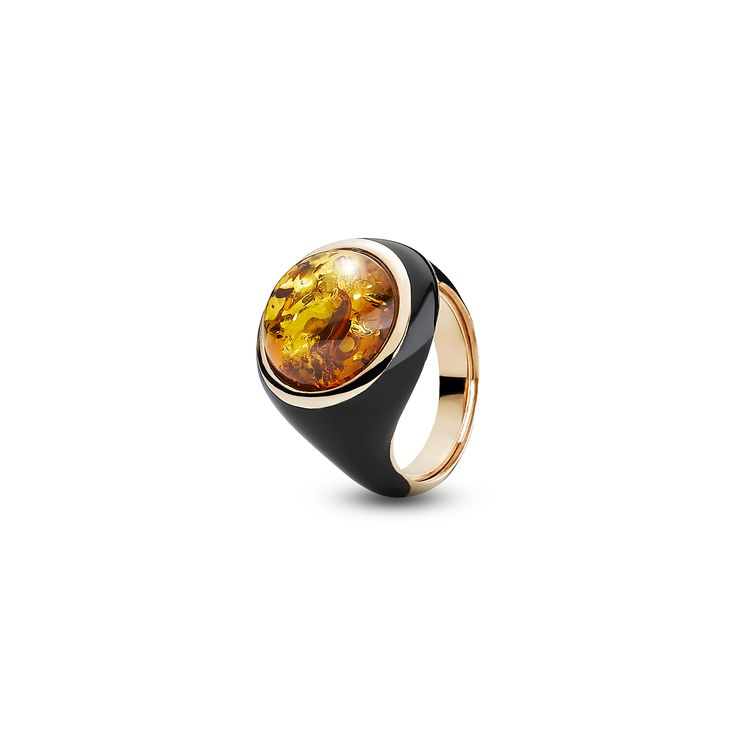 House of Amber - A ring in rose gold sterling silver, black enamel, and cognac amber. This lovely ring has an elegant and timeless design and is a part of the Enlightened Enamel Collection by Paolo Tagliapietra.