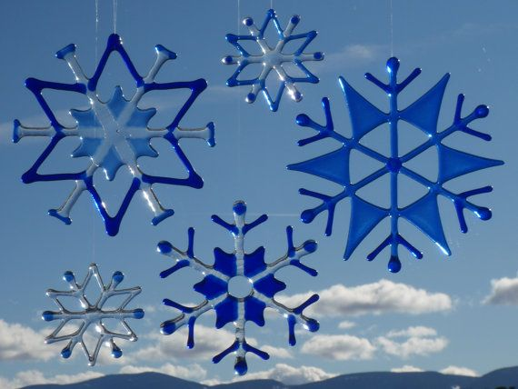 Custom Made Fused Glass Snowflakes Ornaments and by MickeysDesigns, $30.00