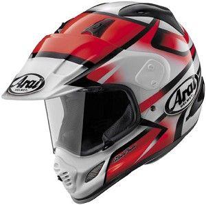 Arai XD-4 Diamante Red Graphic Motorcycle Adventure Dual Sport Helmet.