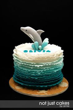 Dolphin Themed 6th birthday cake - by NotJustCakesByAnnie @ CakesDecor.com - cake decorating website