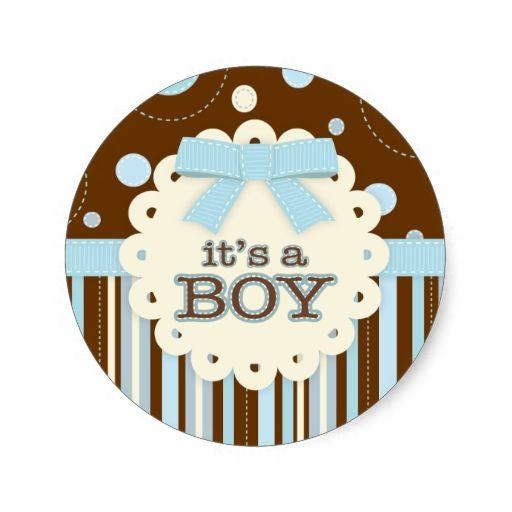 Itu0027s A Boy All In Blue Stitches U0026 Bow Baby Shower Classic Round Sticker