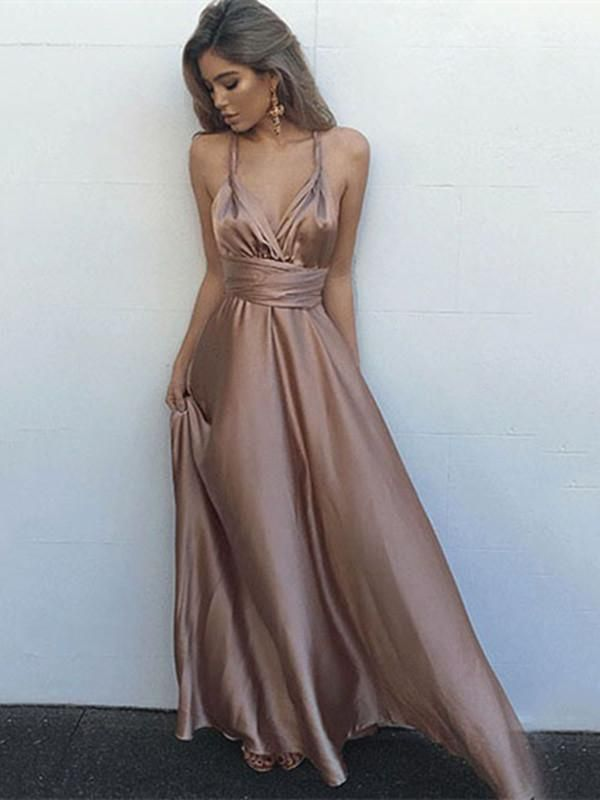 88a3208fbaf Sexy A Line Open Back Floor Length Champagne Prom Dress