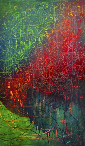 Shafaq Ahmad is a multi media artist whose work is inspired by the words of the Quran and Islamic mysticism. Alif Lam Mim, oil on canvas, 36 x 60 inches, 2010