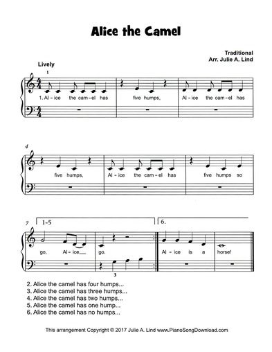 Alice The Camel, a fun easy children's song for beginning piano lessons. Free, PDF digital sheet music.