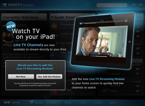 DirecTV's iPad app updated with live TV streaming, as long as you stay at home -- Engadget