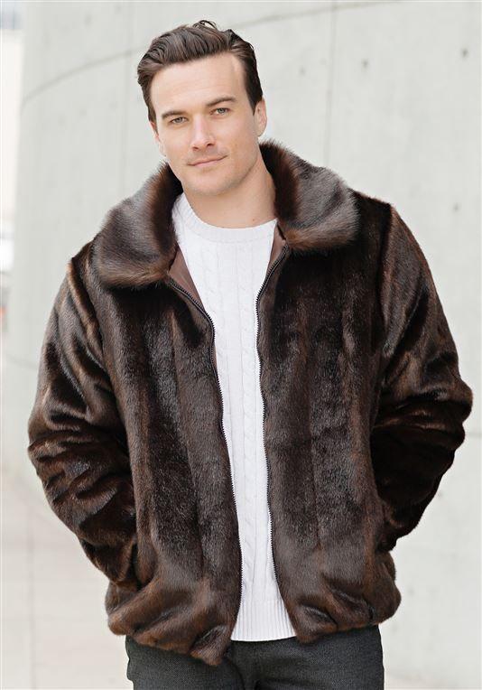 4923a4491 Sable Faux Fur Men's Bomber Jacket | Mens Faux Fur Jackets - Donna ...