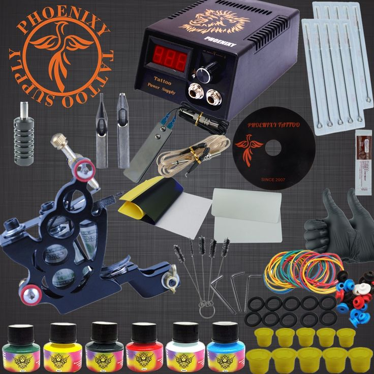 (32.49$)  Buy here  - Professional Tattoo Kit 8 Wrap Coils Guns Machine Set 6 Colors Pigment Sets LCD Power Supply Needle Permanent Makeup Tattoo Kits