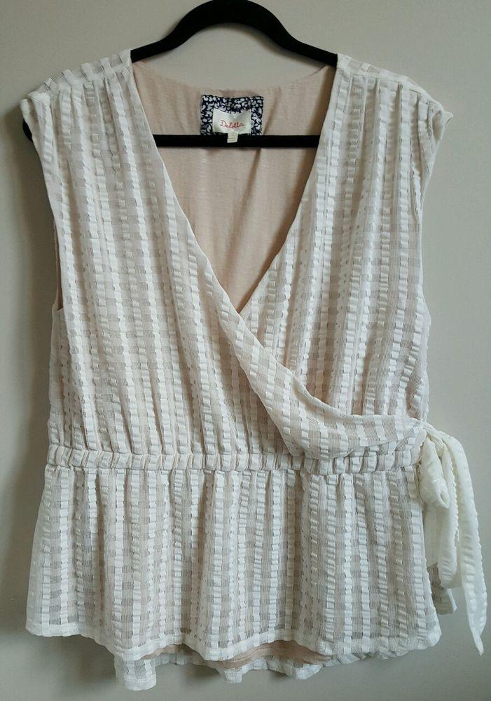 Deletta Anthropologie Malpelo top white ivory wrap blouse XL