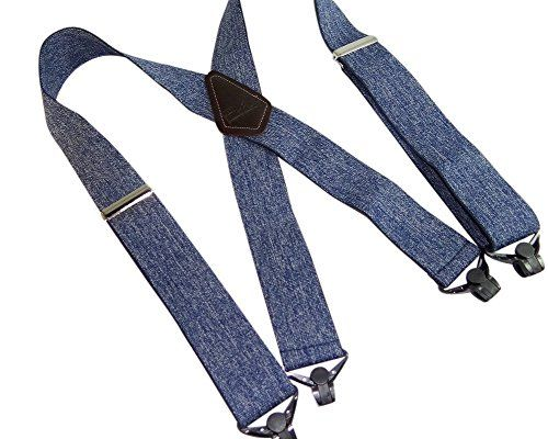 "Hold-Ups Heavy Duty 2"" Wide Dark Denim Work Suspenders w/ Patented Gripper Clasps  2"" wide elastic webbing in X-back style  Composite Plastic Jumbo Patented Gripper clasps  Top Grade brown leather double stitched logo crosspatch  48"" long Dark Blue Jeans colored 2"" wide work suspenders  Hold-Ups® are sold at over 2,000 stores nationwide"