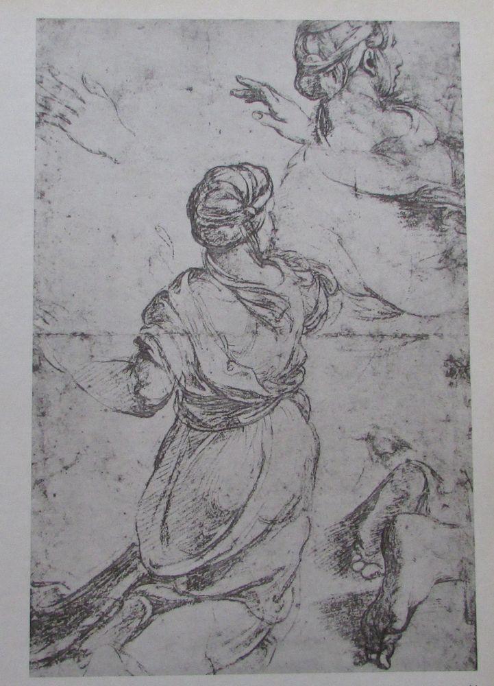 Raffael DREI STUDIEN EINER KNIEENDEN FRAU Reproduktion print italienischer Maler