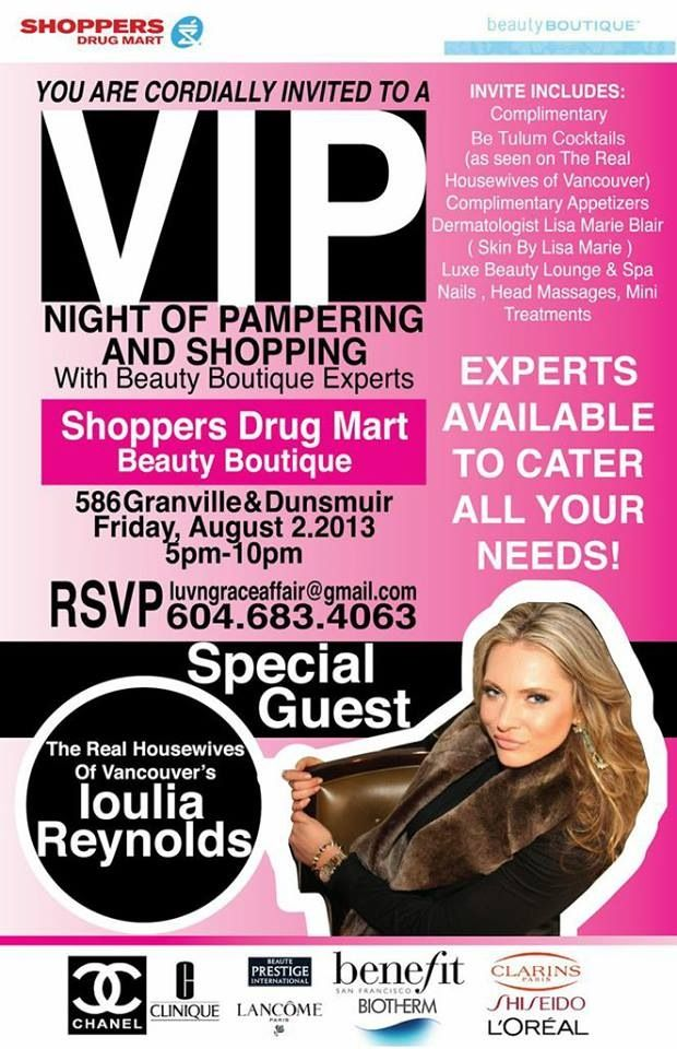 Cosmetic event in #vancouver ! Come join us at the #beautyboutique on #granville and #dunsmuir #downtownvancouver for a night of pampering and shopping. #makeup #cosmetics #hwov #therealhousewivesofvancouver #betalum #betalumcocktail #cocktails #chanel #benefitcoametics #lancome #smashbox #biotherm #clinique #clarins #shiseido #fragrances #bpi #beauty #cosmeticgirls #shoppingnight