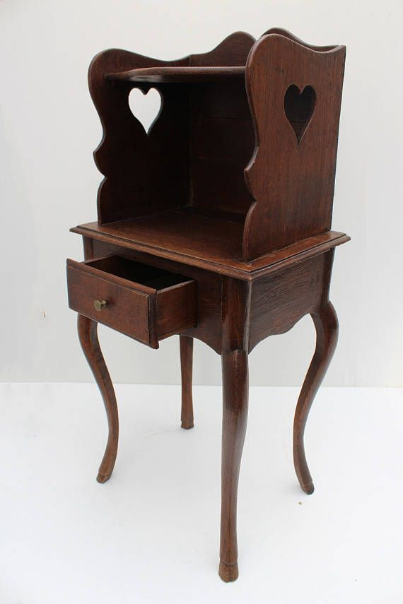 antique oak nightstand End table side table Romantic lovely