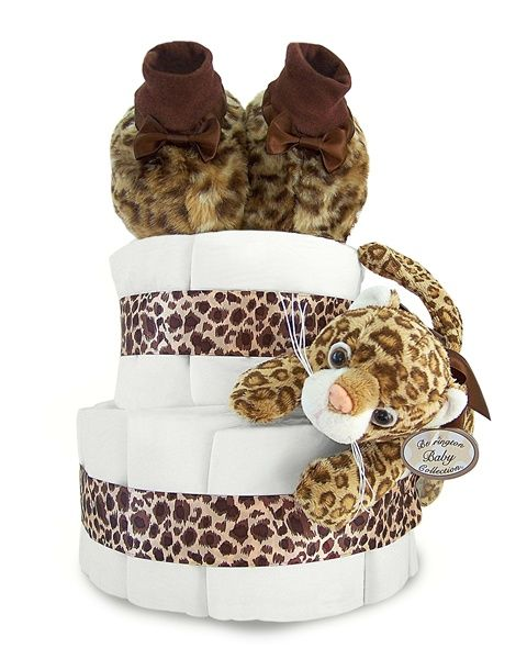 Luxe Leopard 2-Tier Diaper Cake - Includes 35 Level 1 Pampers Swaddlers diapers, Luxe Leopard Booties with Satin Bows (Size 6-12 months), Luxe Leopard Rattle with Satin Bow (Measures 8 inches long), Decorated with Fabulous Leopard Satin Bow, and Elegantly Wrapped in White Tulle.  Perfect shower gift for a little girl or Baby shower centerpiece.