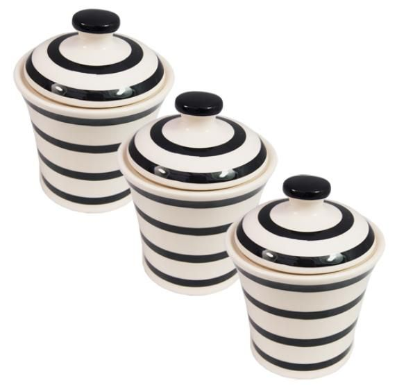 Tea Coffee Sugar Jars Canisters Black Stripe New Kitchen Home Office Set Of  3