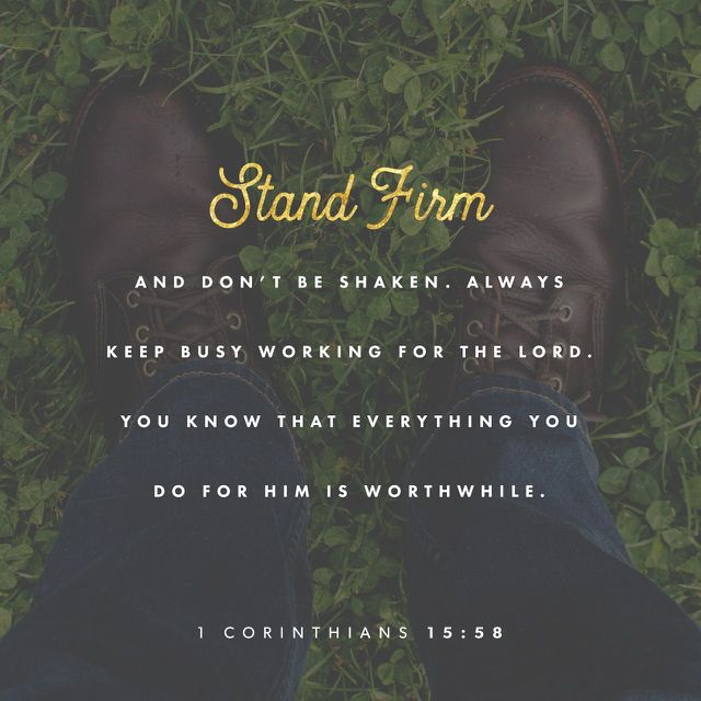 """""""Therefore, my beloved brethren, be ye stedfast, unmoveable, always abounding in the work of the Lord, forasmuch as ye know that your labour is not in vain in the Lord."""" 1 Corinthians 15:58 KJV http://bible.com/1/1co.15.58.kjv"""