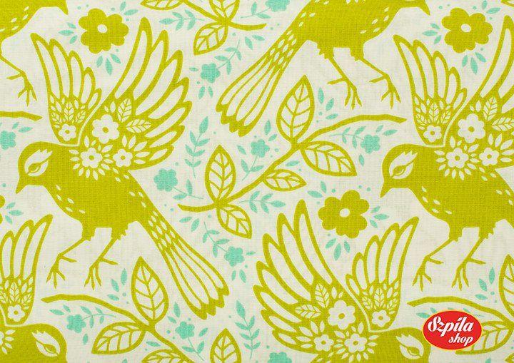 Meadowlark Up Parasol by Heather Bailey - SzpilaShop - Tkaniny dla dzieci