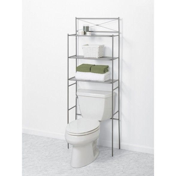 Spacesaver Over The Toilet Etagere Brushed Nickel Zenna Home In 2021 Storage Bathroom Space Saver