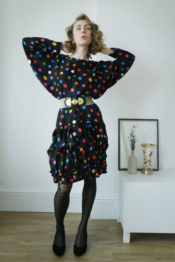 80's vintage black dress/spotted/polka-dot/ra-ra skirt/silk/batwing/colourful print by comeinsideus on Etsy