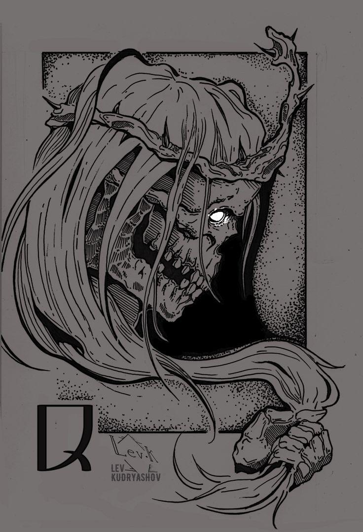 Skull. Cards. Sketch. Tattoo. Graphic. Draw. Ink. Dotwork. Череп. Art. Queen. Дама. LevK. Black. Evil.