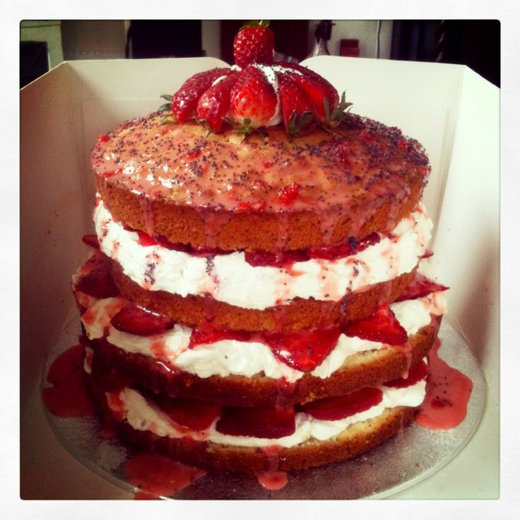 Strawberry and poppy seed celebration cake