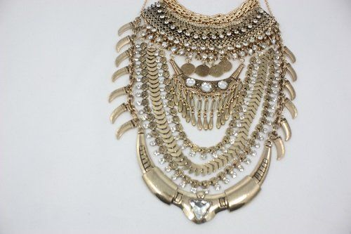 Chunky Vintage Crystal Horn Necklace/Boho chic Necklace | Fashion Women's Handmade Jewelry and Contemporary Accessories