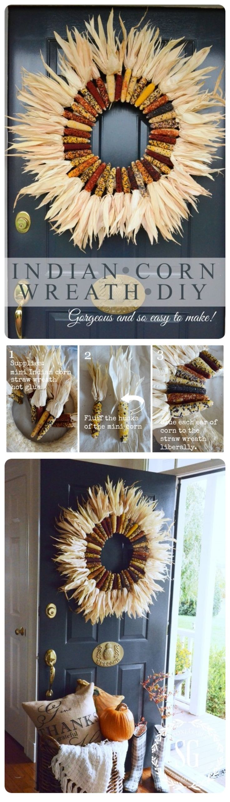 DIY Indian Corn Wreath