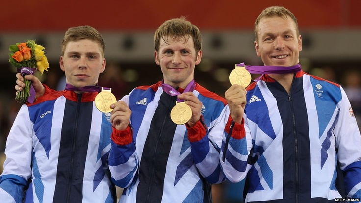 Philip Hindes, Jason Kenny and Chris Hoy with their gold medals at London 2012