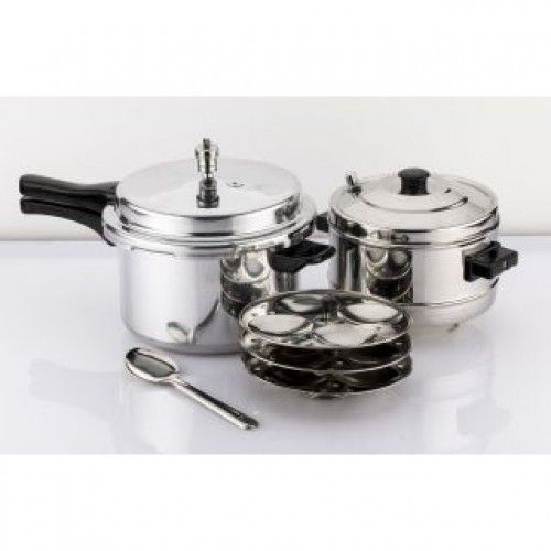 Deals and Offers on Cookware - Mahavir 3Pc -5.0 Liter Induction Pressure Cooker With Idly Cooker Combo