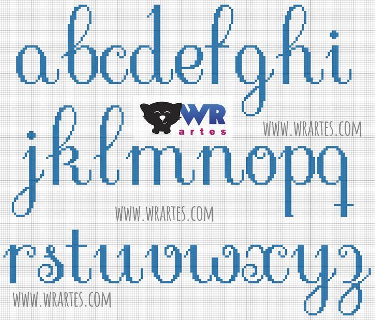 Gráfico alfabeto minúsculo para ponto cruz Alphabet minuscule à telecharger gratuit