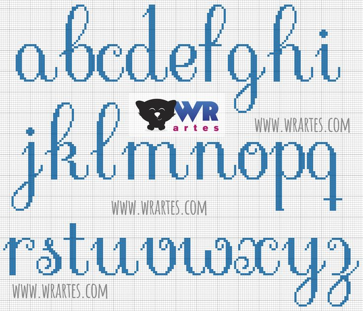 Gráfico alfabeto minúsculo para ponto cruz