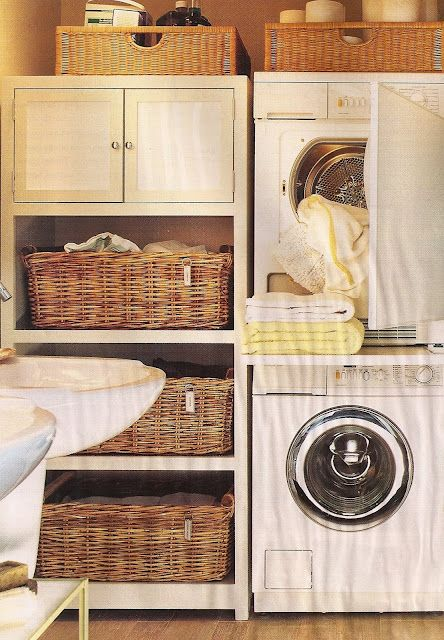 Nice compact laundry space. The extended folding counter between appliances could be built as a slide-out shelf (similar to cutting board built into kitchen cabinets). Open shelves to hold different laundry baskets, closed storage for laundry detergent & accessories.