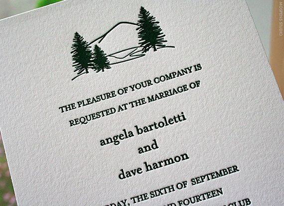 Rustic Letterpress Wedding Invitation Sample, Mountain Wedding Invitations, Simple Wedding Invitation