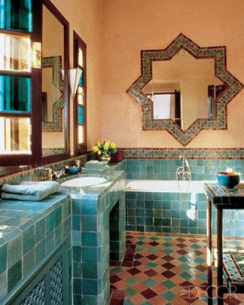 Love blue and then love the Asian Moroccan Indonesian decor vibe for the bathroom have a lot of statues and lanterns that I had in my bedroom I need to incorporate somewhere and the bathroom I want to have a tranquil Moroccan Turkish spa feel